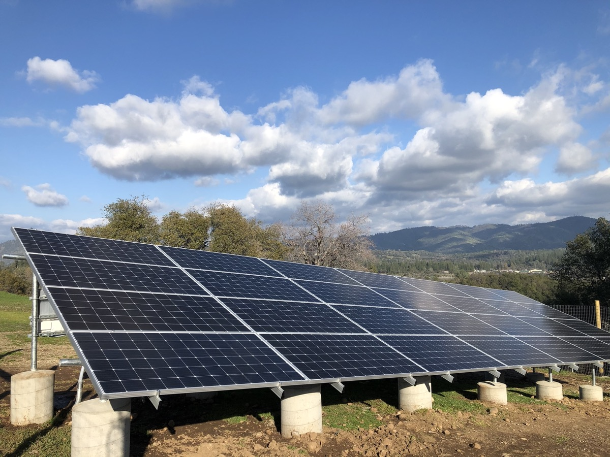 Solar panel ground installation on hill in Tuolumne County by SolarWorx Energy